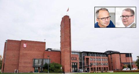 RÅDHUSET: Ombyggingen av en ny fløy i rådhuset har blitt 20 millioner dyrere enn planlagt. Politikerne Jørgen Vik (Ap, t.v.) og Kjartan Berland (H) mener kommunen må ta lærdom av saken.