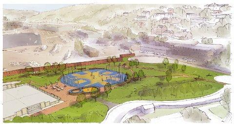 BLIR STØRRE: Parken ved Bekkelagsbadet blir cirka 7000 kvadratmeter større når den står ferdig i mai 2022.