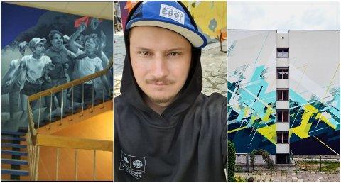 KOMMER: Artyom Khazanov er en av kunstnerne som skal sette sitt personlige preg på Tromsø. Motivet til venstre er hans, fra ungdomshuset i Arkhangelsk. Til høyre er det polske NAWER som har utfoldet seg på en boligblokk.