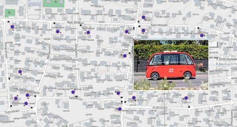 SKILT: De selvkjørende bussene trenger veiens bredde, så det vil det bli parkeringsforbud i mange av gatene.