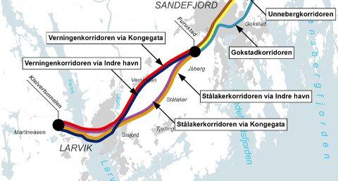 Alternative trasémuligheter fra Sandefjord til Kleivertunnelen vest for Farriseidet.