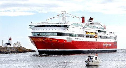 Fjordlines ferge Stavangerfjord måtte snu på grunn av en alvorlig syk passasjer ombord. Bildet er tatt ved en annen anleding.