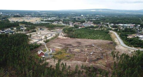 HELT ÅPENT: Skogen er ryddet der boligprosjektet Damgaardtunet skal realiseres. Første og andre delfelt av Smedstadtoppen til venstre. Olav Sæters veg strekker seg gjennom bildet. Dronefoto: Tor Bergebakken