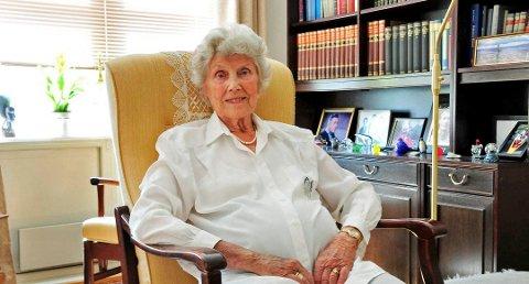 Lillian Gabrielsen (1923-2019) fotografi tatt i august 2014 i forbindelse med et TA intervju (foto: Anne-Lise Surtevju )