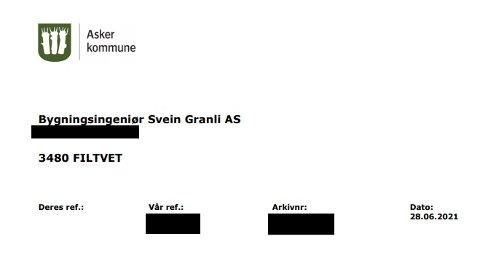 IKKE SLIK: Mottakeren stusset da han så det gamle emblemet til Asker kommune øverst på brevet han fikk av kommunen.