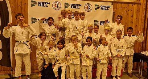 FIN GJENG FRA SANDE: Denne gjengen deltok på judostevnet i Sandehallen på søndag.