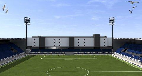 Arena bolig: Slik blir leilighetsbygget mot vest seende ut fra gressmatta. Når halvparten er solgt, blir det byggestart. Illustrasjon: Kvartal 19 Arkitektkontor AS