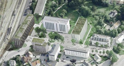 Fotomontasjen viser mulig utbygging, basert på arkitektkonkurranse i forbindelse med områderegulering.