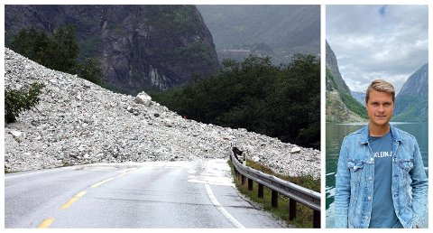 NØGD: Dette raset, som stengde E16 i fleire dagar, gjekk på strekninga som tunnelen skal erstatta. – Me er glade for at det ligg pengar til oppstart av skredsikringsprosjektet i Nærøydalen i Statsbudsjettet for 2022, seier Jonas Ure Hylland.