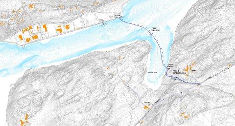 RESERVEVANN: Kartet viser hvor ledningen med reservevann skal legges.
