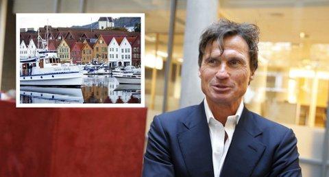 Petter Stordalen med store planer i Bergen. Foto: Terje Pedersen / GS foto as (NTB scanpix / NA Bilder (Montasje))