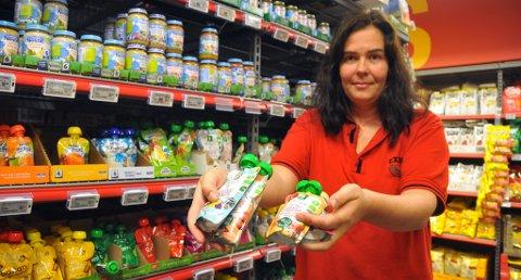 BARNEMAT: Det økologiske utvalget av barnemat får ikke stå lenge i butikkhyllene, før de blir revet vekk.
