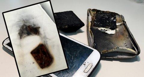 BRANT HULL I MADRASSEN: Det lød et smell da mobilen eksploderte, dermed våknet eieren og fikk slukket brannen før den spredte seg fra madrassen.  Foto: Frende forsikring