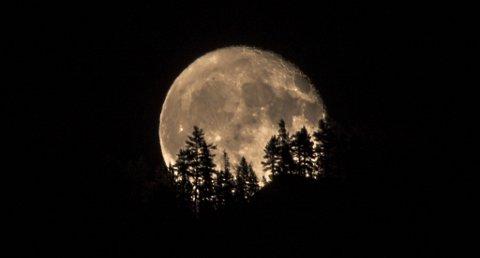 IKKE TILFELDIG: Kamerainnstillingene var klare da René Ringnes skulle knipse månen over Bjørgenuten søndag kveld.
