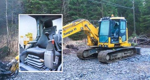 Arbeidsdagen ble ikke helt som planlagt for firmaet som arbeider på Grytingveien på Sundebru, etter at noen har gjort hærverk på en maskin i helgen. Foto: Torgeir Vik