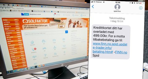 SVINDELFORSØK: Finn.no fikk søndag tilbakemeldinger fra flere brukere som hadde mottatt denne tekstmeldingen. Foto: Jørn Normann Pedersen/Skjermdump