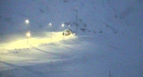 Slik så det ut på E134 over Haukelifjell, tirsdag morgen.