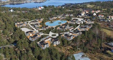 TOMTEKJØP: Denne fotomontasjen ble laget i forbindelse med den planlagte utbyggingen av området Kammen ved Kragerø Resort. Området som selskapet ønsker å kjøpe omslutter hotell- og golfområdet. (Illustrasjon: Arkitekthuset)