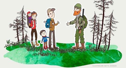 Slå gjerne av en prat dersom du møter en jeger i skogen. Illustrasjon: Mette Johnsen