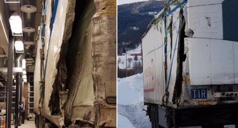 Hengeren til vogntoget hadde store skader. Foto: Vegvesenet