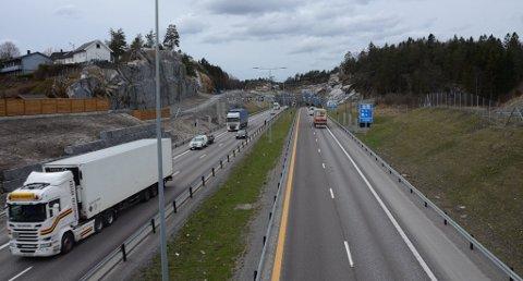 Fra mandag tas alle felt på e18 forbi Larvik i bruk Foto: Bjørn-Tore Sandbrekkene
