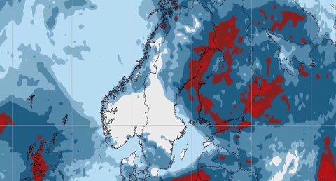 FINVÆR: Bildet viser totalnedbør fra torsdag klokken 20 til lørdag klokken 20, da det i prinsippet blir tørt over store deler av Sør-Norge i tre døgn. Foto: Storm Geo