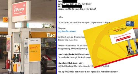 Svindel-e-postene med Shell-logo fortsetter å komme. For å få det angivelige gavekortet på seks måneder med gratis drivstoff, må du betale 5 kroner. Men dette er ikke noe tilbud Shell har sendt ut, og er et forsøk på å lure folk. Illustrasjonsfoto