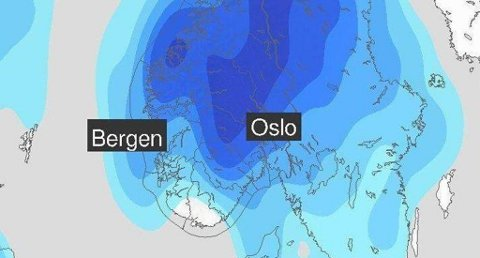 I starten av neste uke venter meteorologene regnbyger inn over Sør-Norge. Foto: Faksimile (Meteorologisk institutt)