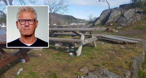 HÆRVERK: Lars Erik Bakke ber ungdommene rydde opp etter seg.
