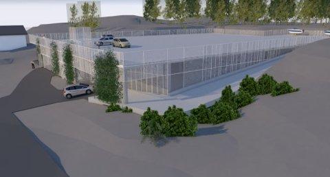 Persøygard: Dette parkeringsanlegget ønsker Tvedestrand Vekst å bygge på Persøygard ved Hagefjordbrygga. Dagens parkeringsplass blir liggende inni det nye anlegget.