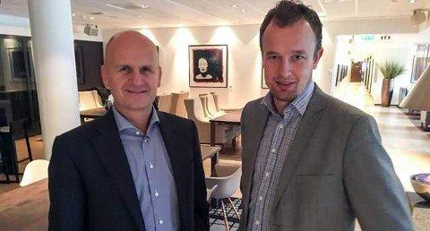 VERTSKAP: Fylkesordførerne Rune Hogsnes (t.v.) og Sven Tore Løkslid inviterer næringslivsfolk og andre premissleverandører til møte i Oslo. Temaet er den nye regionen, Vestfold og Telemark.
