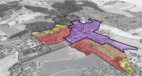 RÅDMANNENS FORSLAG: Den støsrte veksten foreslås i sentrumskjernen (bøått). For feltene i brunt foreslås moderat fortetting og områdene i rødt foreslås bevart.