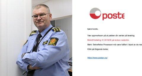 SVINDEL: Avsender bruker Posten Norges logo, og ber om et lite beløp. Dette er altså ikke fra Posten, og er svindelforsøk, sier lensmann Odd Holum.