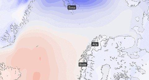 Et høytrykk gir stabilt og pent vær i Nord-Norge.