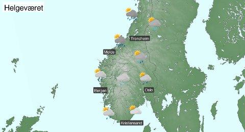 VÅT START: Ifølge Meteorologisk institutt blir det en våt start på mai. Mesteparten av nedbøren vil komme natt til fredag og fredag formiddag, men det kan også komme litt nedbør lørdag og søndag, ifølge meteorologene.