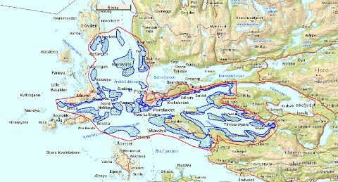 STORT SØK: Det blir leita frå Osstrupen bru til Skorpa og Bareksta vest om Florø,