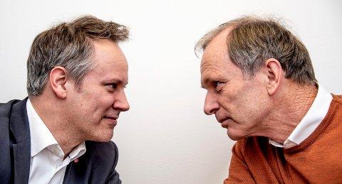 MØTES TIL DUELL: Torsdag møter Jon-Ivar Nygård (t.v.) og Truls Velgaard hverandre og de ti andre førstekandidatene i Fredrikstad til politikerduell.