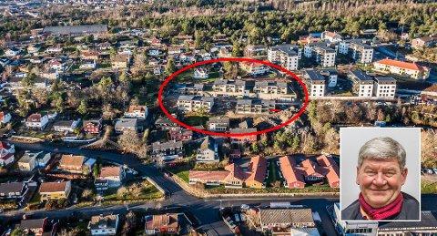 Prosjektleder i Kniplefjellet eiendom, Trond Amundsen, har nesten solgt ut alle leilighetene i Smedens hage (rød ring). Over til høyre sees Åsebråten Park. Helt oppe til venstre, Stjernehallen – det neste store nye utbyggingsområdet.