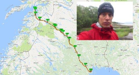 LANG FERD: Her er ruten til Hans Skutberg. Fra Bognes i Tysfjord til Luleå i Nord-Sverige. Totalt 49 mil, hvorav seks måtte gås til fots med kajakken på ryggen. Foto: Skutberg.se/privat.