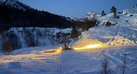 Espen Øvstebø laget skiløyper på Giljastølen i helga.