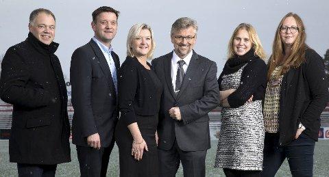 I front: Kongsvingerregionen skal ta en ledende rolle i utvikling av bioøkonomi, skriver lokale ordførere. Fra venstre Knut Hvithammer (Sør-Odal), Ørjan Bue (Åsnes), Wenche Huser Sund (Grue), Sjur Strand (Kongsvinger), Kamilla Thue (Eidskog) og Lise Selnes (Nord-Odal).
