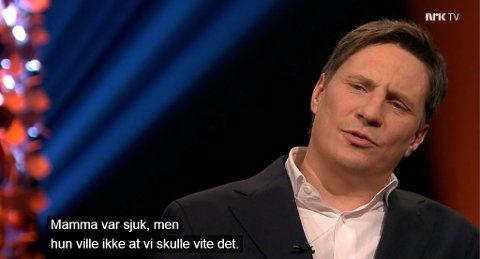 Pål Tøien fortalte om moren, Tove Tøiens, bortgang på Lindmo på NRK TV: