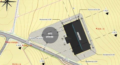 SKISSE: Slik ser den planlagte driftsbygningen, med tilhørende gjødselkum ut på skissestadiet.