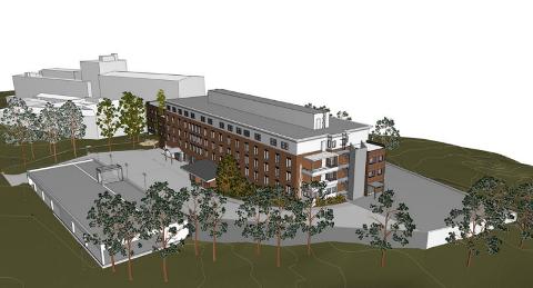 SLIK BLIR DET: Illustrasjonen viser hvordan Helsehuset skal se ut etter rehabilitering.