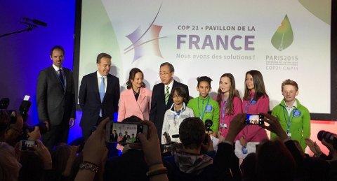 STORFINT MØTE: Nansenbarna talte for en forsamling verdensledere lørdag. FNs generalsekretær Ban Ki-moon midt i bildet. (Foto: Utenriksdepartementet.)