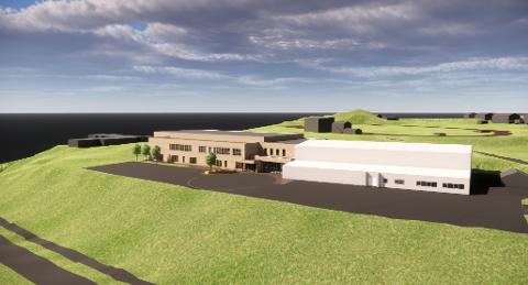 Slik er det tenkt at den nye hallen skal bygges i tilknytning til Stangneshallen.