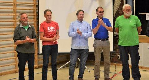 VALGT INN: Fra venstre: Tov Sandnæs SV (70), Jan Gaute Bjerke Ap(64), Morten Rudi Sommer Frp(36), Nils Helge Tufto Høyre (62) og ars Inge Enerstvedt Sp (65) er noen av de som skal sitte i det nye kommunestyre i Nore og Uvdal.