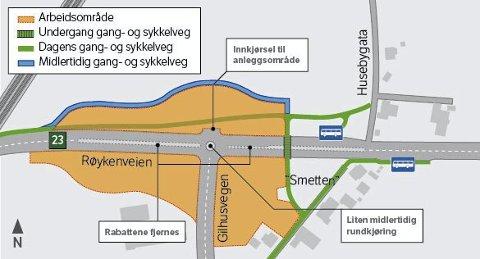 Her jobbes det: I forbindelse med forarbeider til rv23 Dagslet – Linnes skal det bygges ny rundkjøring ved Gilhus, og det blir anleggsarbeid på et større område rundt Røykenveien/Gilhusveien. Tegning: Martin Blystad/Statens vegvesen