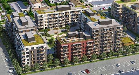 FØRSTE TRINN: Veidekke skal bygge de 206 første leilighetene i boligprosjektet Kvarteret i Lillestrøm.