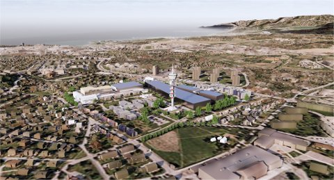 Ocean Space Centre vil bli et dominerende bygg på Tyholt. Denne illustrasjonen viser hvordan det hele kan bli seende ut.
